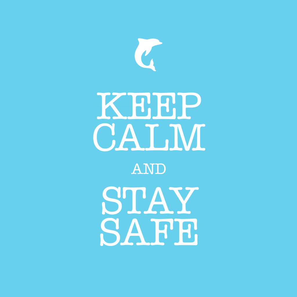 """""""Keep Calm and Stay Safe"""" de The Blue Dolphin Store"""